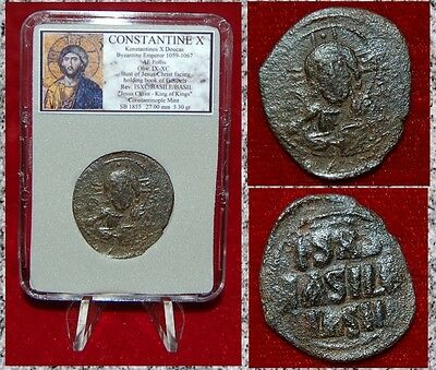 Ancient BYZANTINE Empire Coin Of CONSTANTINE X JESUS CHRIST Holding Gospels