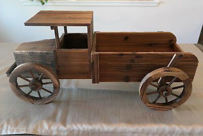 "38"" L Vintage Pickup Truck Style Wooden Garden Planter Box W Burnt Wood Finish"