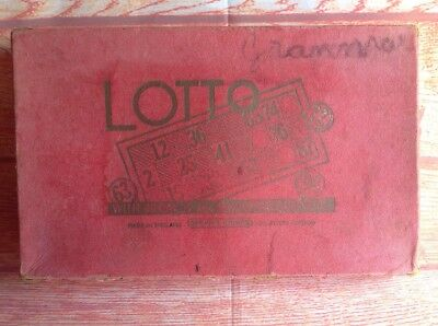 SEARS ANTIQUE LOTTO SET vintage Game Set With Cards And Wooden Marker Numbers