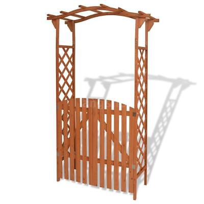 Garden Arch with Gate Solid Wood 120x60x205 cm X2E7
