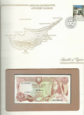 Banknotes of Every Nation Cyprus 50 Cents 1987 P 52a UNC Prefix H