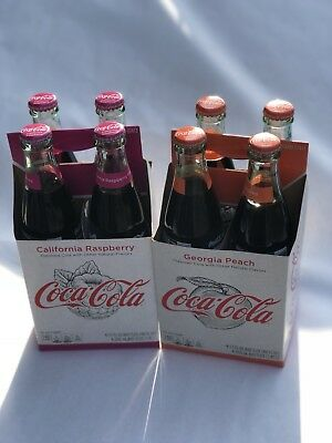 Coca Cola California Raspberry And Georgia Peach In Carton 12 Oz Bottles