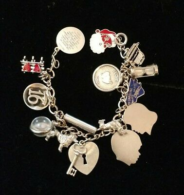 Antique Vintage Beau Sterling Charm Bracelet with 15 Charms Mostly Beau