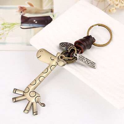 Men Women Creative Key Button Lovely Giraffe Retro Woven Key Chain Gift  Fashion