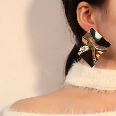 Punk Folded Alloy Metal Statement Stud Earrings for Women Fashion Party Jewelry