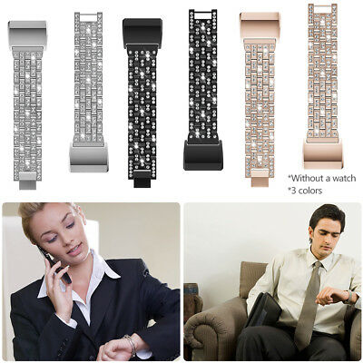 Inlaid Rhinestone Zinc Alloy Metal Smart Watch Band Strap For Fitbit Charge 2