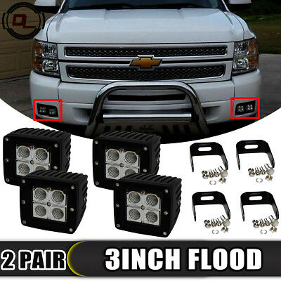 For 2007-14 Chevy Silverado 1500 2500 3500 3inch LED Fog Light Pod Flood Hidden