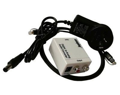 White Digital Optical Coax Coaxial Toslink to Analog Audio Converter Adapter RCA