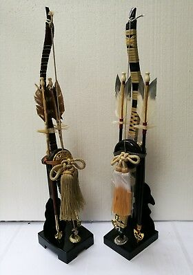 Japanese Antique Handmade 2 Sets of Wooden Bow & Arrows Great Collectible Gift