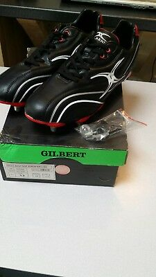 Gilbert Sidestep 8 Stud Zenon Lo Cut soft toe Black Red Rugby Boot SIZE 13 BNIB
