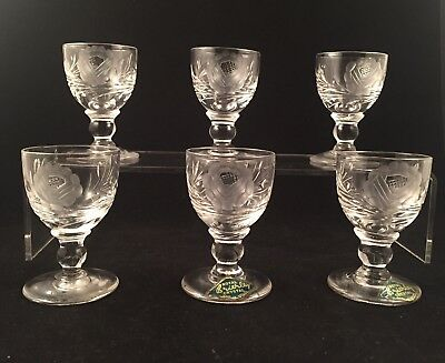 """6 Royal Brierley Crystal ROSE Cut Cordial Glasses 2 1/2"""" Tall Stunning"""