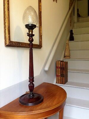 An Elegant Edwardian Mahogany Lamp With Cut Glass  Shade Country House Style