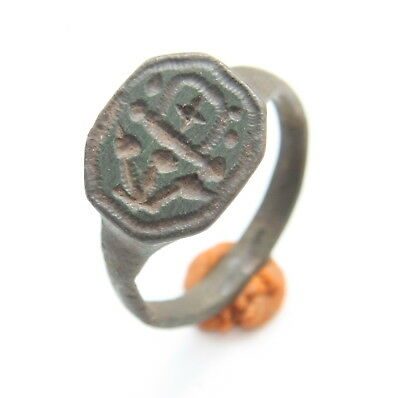 Ancient Bronze Finger Pseudo-Heraldry Stamp Ring (MAR01)