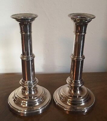 Pair 19th c. Old Sheffield Silver Plate on Copper Telescoping Candlesticks