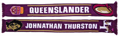 Queensland Maroons State Of Origin Jonathon Thurston Face Queenslander Scarf!