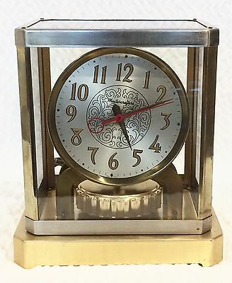 Vtg MasterCrafters Clock Art Deco Mid Century Glass Brass Chrome Atmos Style
