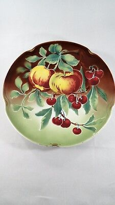 """Rare 12"""" Antique K&G Luneville Depose FRANCE Airbrushed Fruit Wall Plate"""