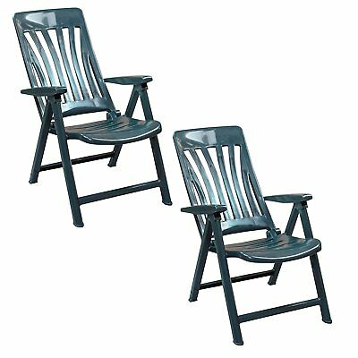 Folding Reclining Garden Chairs Set Green Plastic High Quality UV Protection  sc 1 st  PicClick UK & PAIR OF GREEN Plastic Folding Reclining Garden Chairs Argos - £20.00 ...