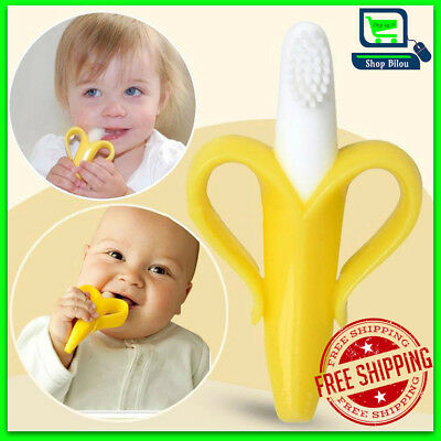 Silicon Bendable Banana Teether Baby Training Toothbrush Infant Toddler Massage