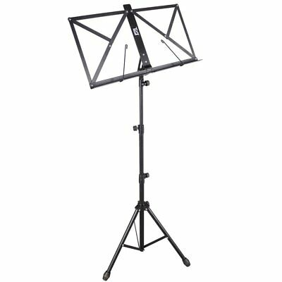 TGI MS20BK Music Stand In Black, Foldable, Adjustable Height, Includes Bag