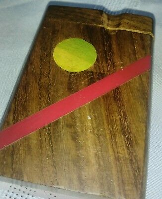 "One Hitter Set - Solid Wood Box with Bat - Pocket Size 3+"" Colorful Wooden handm"