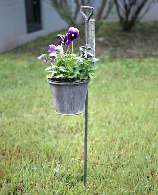 Primitive Rustic Country Weathered Spade Garden Stake W Rain Gauge and Planter