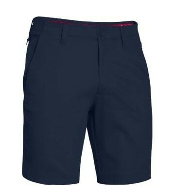 UNDER ARMOUR Men's Performance Stretch Chino Shorts Flat Front Navy Blue 34 NEW
