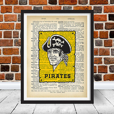 VINTAGE PITTSBURGH PIRATES Retro Logo Dictionary Wall Art Home Decor ...