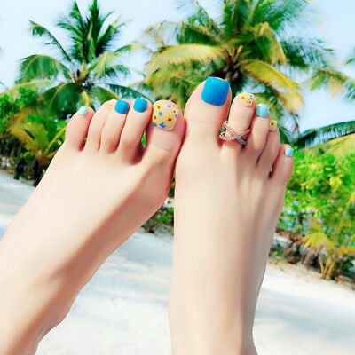 24pcs cute flower short false fake artificial toe nails tips toe nail art too JL