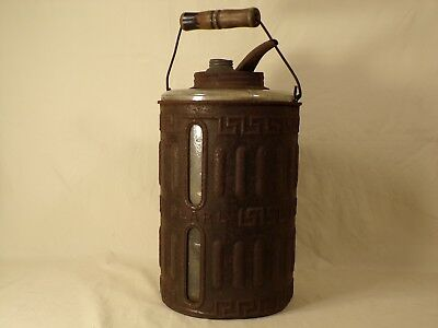 Rare Antique Pearl Glass / Tin Oil Can Kerosene Can Bottle Early Gas & Oil