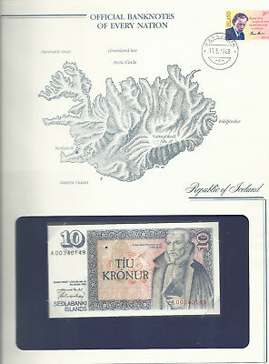 Banknotes of Every Nation Iceland 1981 10 Kronur UNC P48a.4 sign 43 Prefix A
