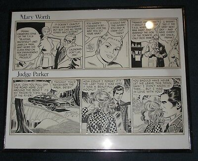 Mary Worth 1974 and Judge Parker 1973 Original Comic Strip Art, Framed