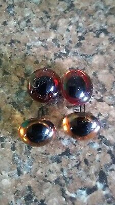 2 pairs of l4mm German glass amber eyes