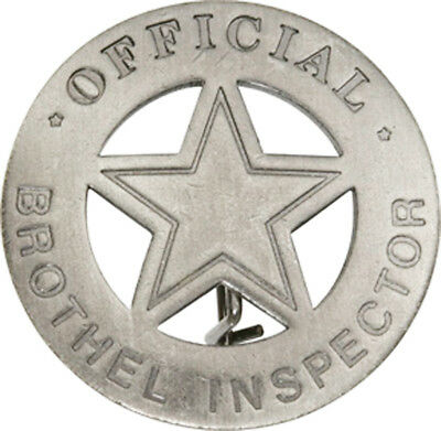 Official Brothel Inspector 5 Point Star Old West Lawman Badge Replica