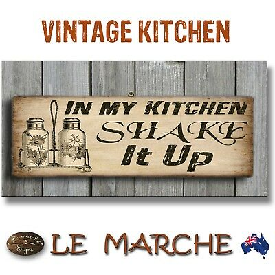 """KITCHEN Vintage """"Shake It Up"""" Wooden Rustic Plaque / Sign (FREE POST)"""