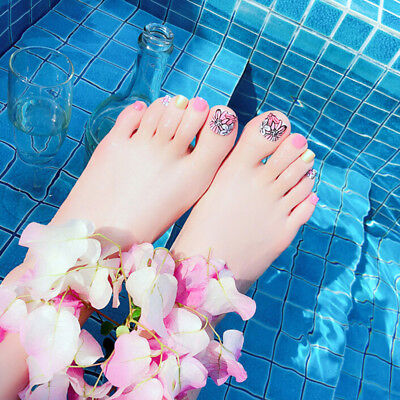 24pcs fashion flower short nails false fake artificial tips toes nail art tool J