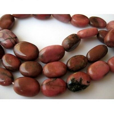 Rhodonite Stone Oval Beads 12mm To 17mm Beads 14 Pieces 8 Inch Half Strand