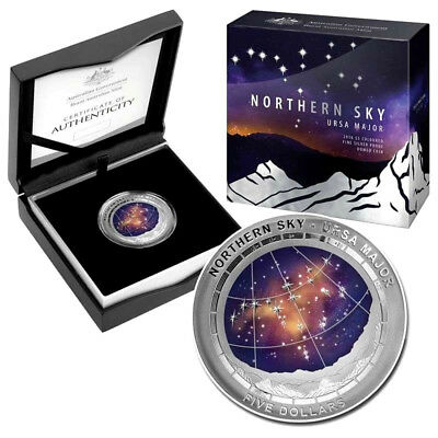 $5 2016 Northern Sky - Ursa Major  1oz Silver Domed Proof Coin