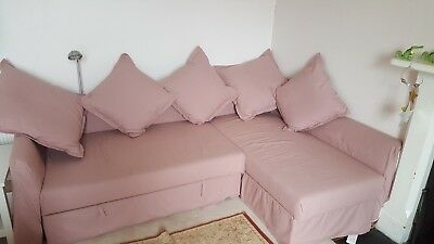 Marvelous Ikea Corner Sofa Bed In Salmon Pink With Storage Very Good Short Links Chair Design For Home Short Linksinfo