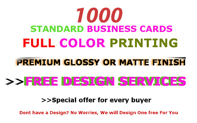 1000 Custom Business Cards| Full Color|Premium Quality|FREE DESIGN|Fast Shipping