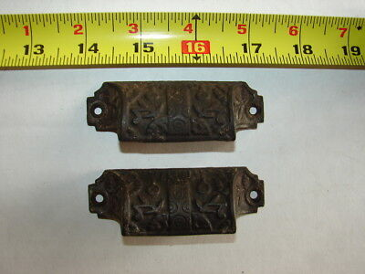 2 Antique Cast Iron Eastlake Victorian Bin Pulls - County Store - GC AS FOUND