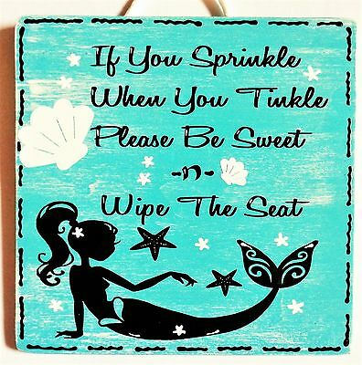 MERMAID Sprinkle Tinkle Bathroom Bath SIGN WALL ART PLAQUE Beach Tropical Decor