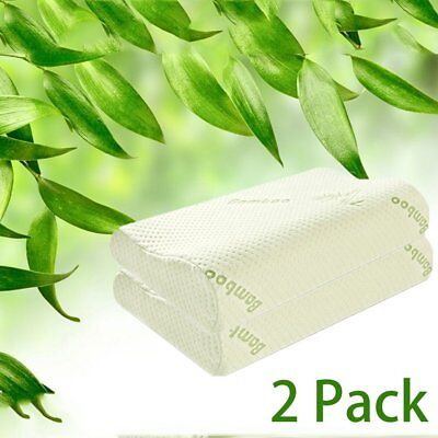 2x Memory Foam Contour Pillows with Bamboo Fabric Cover (50 x 30cm)  BE &YNS
