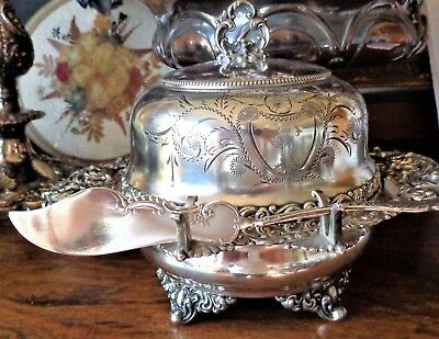 5 Pc Meriden Usa Victorian An Covered Butter Pate Cavier Server Dish Museum Qual