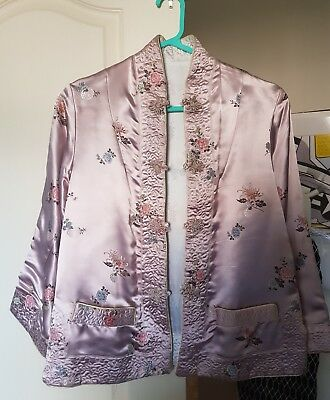 vintage hand made reversible heavy silk tailored chinese style jacket pink white