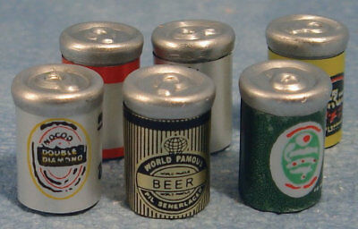 Six Assorted Beer Cans, Dolls House Miniatures, Food & Drink, 1.12 Scale