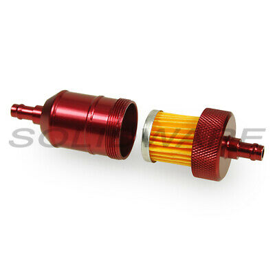 Benzinfilter Ø 7mm rot Alu Cross Tuning Racing Motorrad Leitungsfilter Moped
