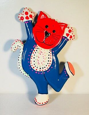 DANCING CAT MAGNET Handmade by artisans in Bali colorful  Rare and Collectible