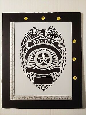 "Police Badge 8.5"" x 11"" Custom Stencil FAST FREE SHIPPING"