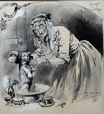 Georges CONRAD 1874-1936 drawing illustration The bath of the dog